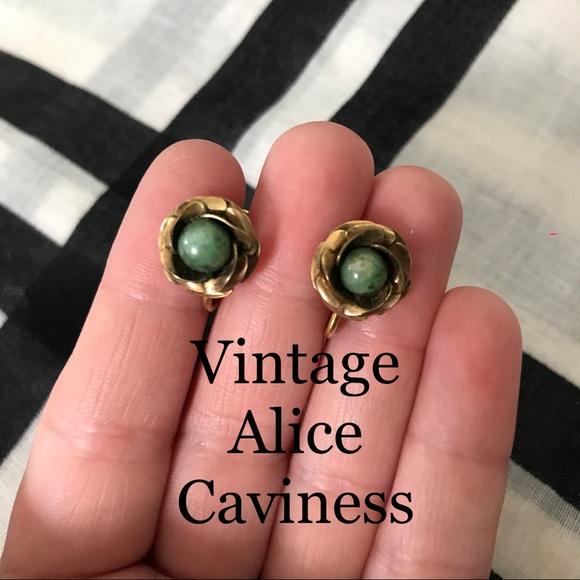 4848192a2 Alice Caviness Jewelry | Vintage Gold Jade Earrings | Poshmark